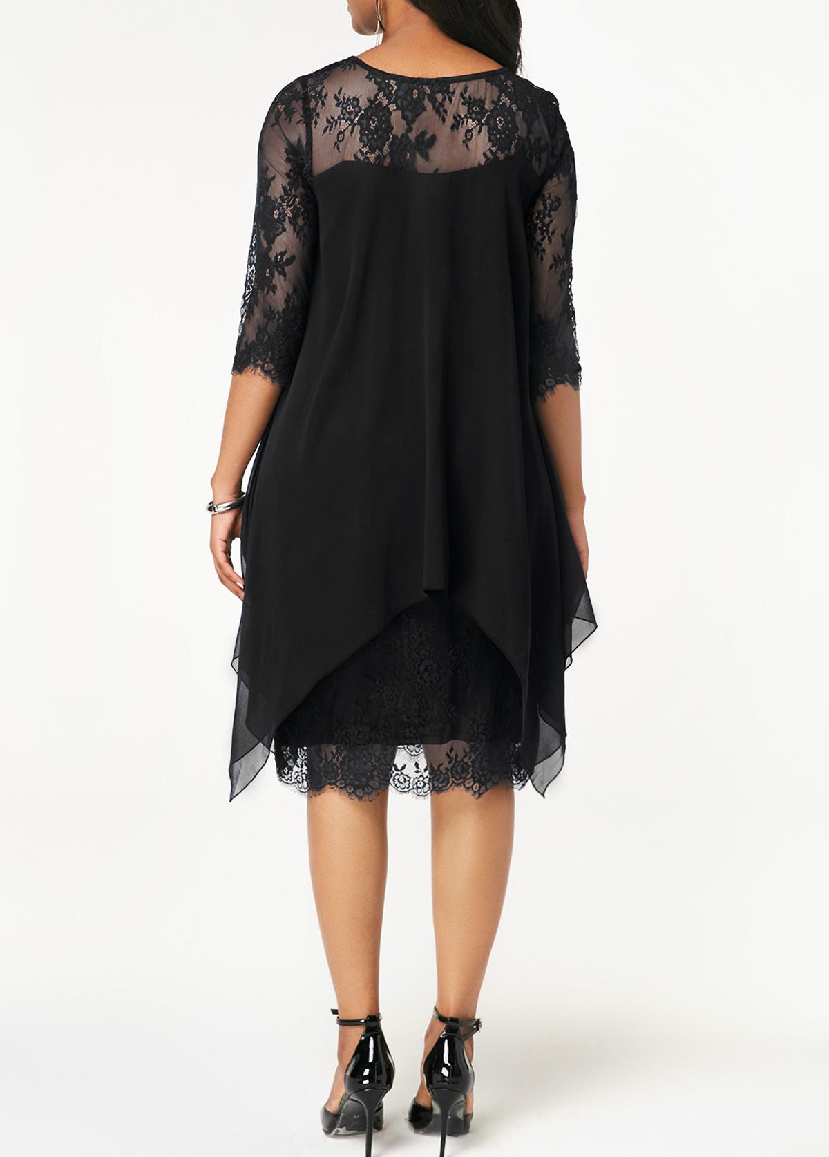 Chiffon Overlay Black Three Quarter Sleeve Lace Dress