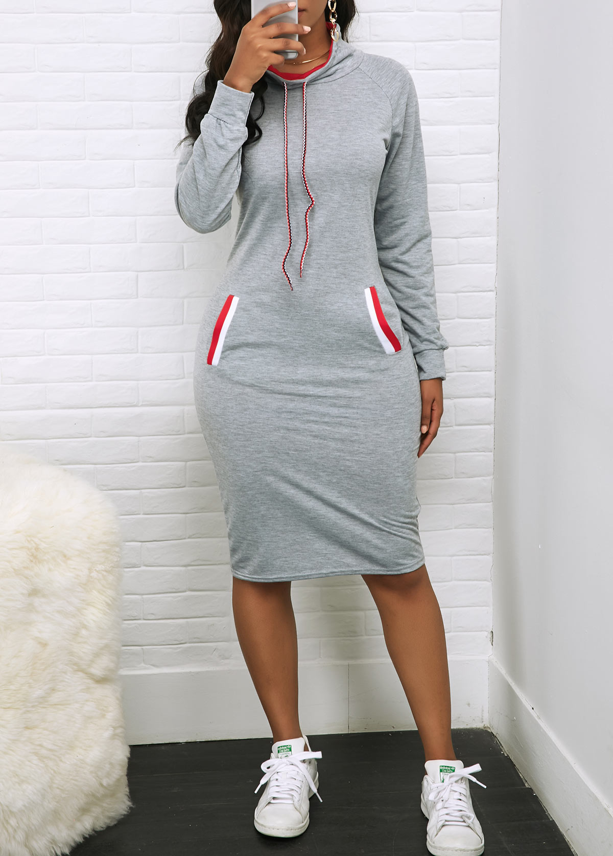 Long Sleeve Pocket Drawstring Neck Dress