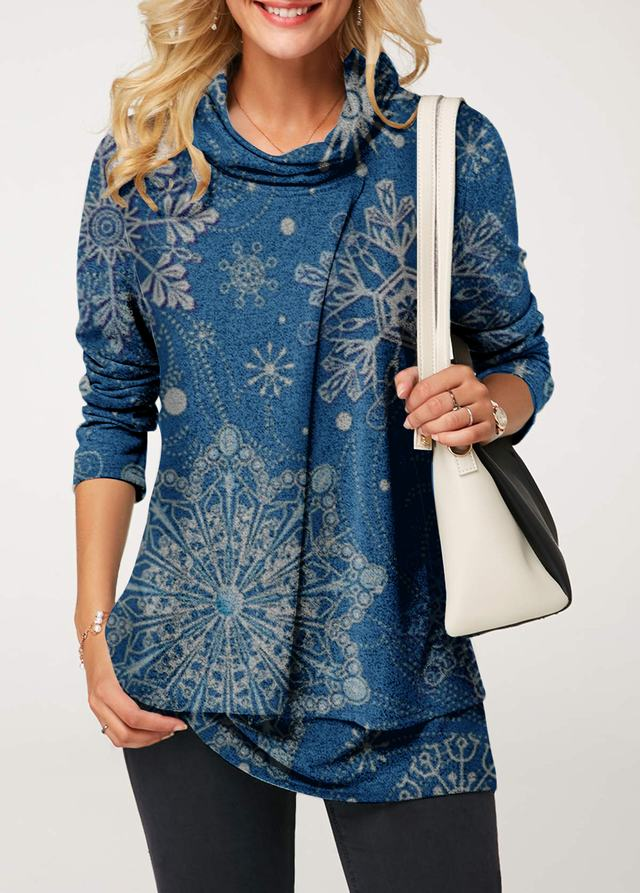 Cowl Neck Layered Long Sleeve Christmas Blouse