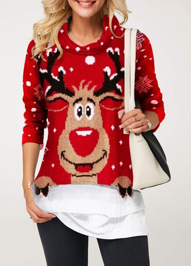 Cowl Neck Elk Print Christmas T Shirt