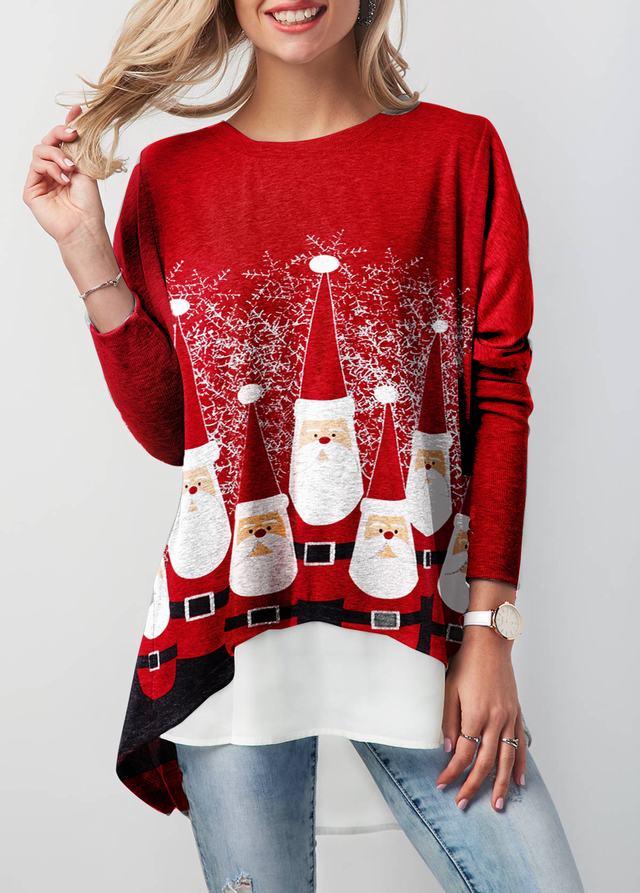 Christmas Asymmetric Hem Faux Two Piece T Shirt