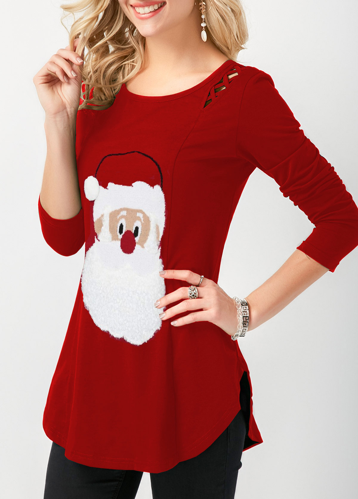 Christmas Curved Hem Long Sleeve T Shirt