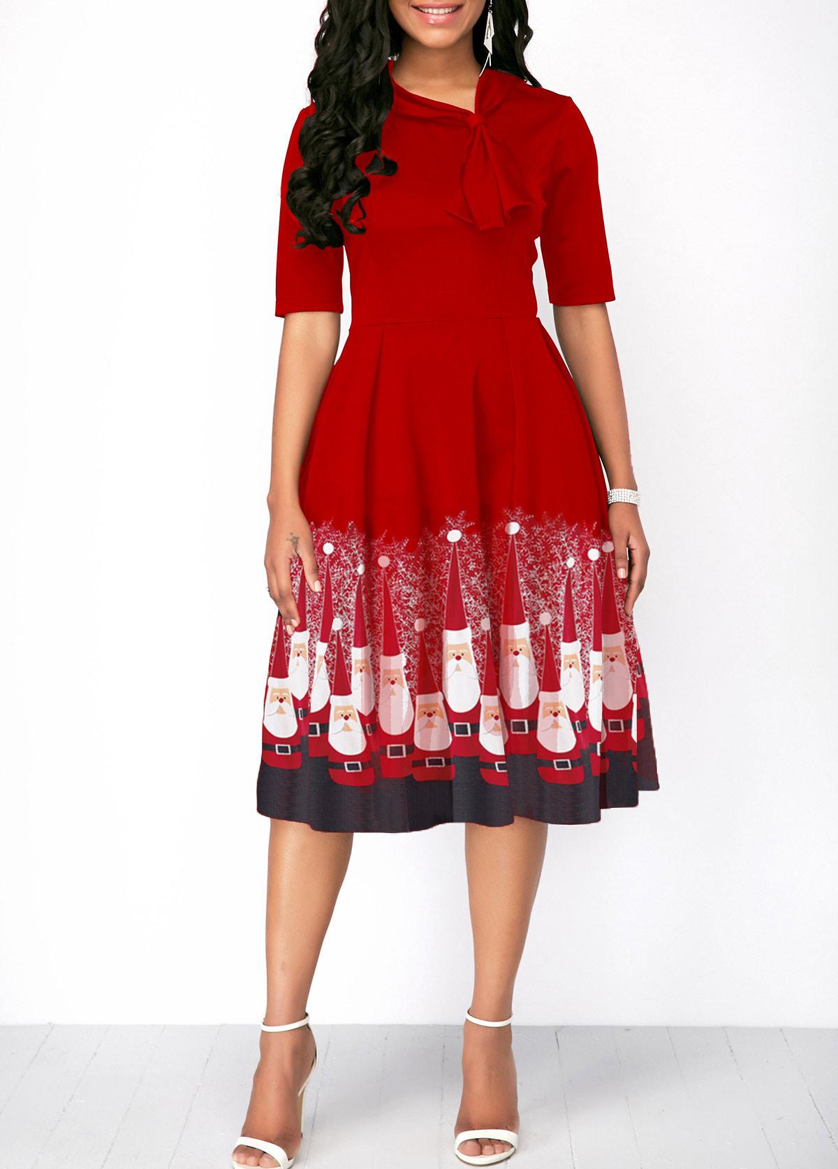 Half Sleeve Red Christmas Santa Print Dress