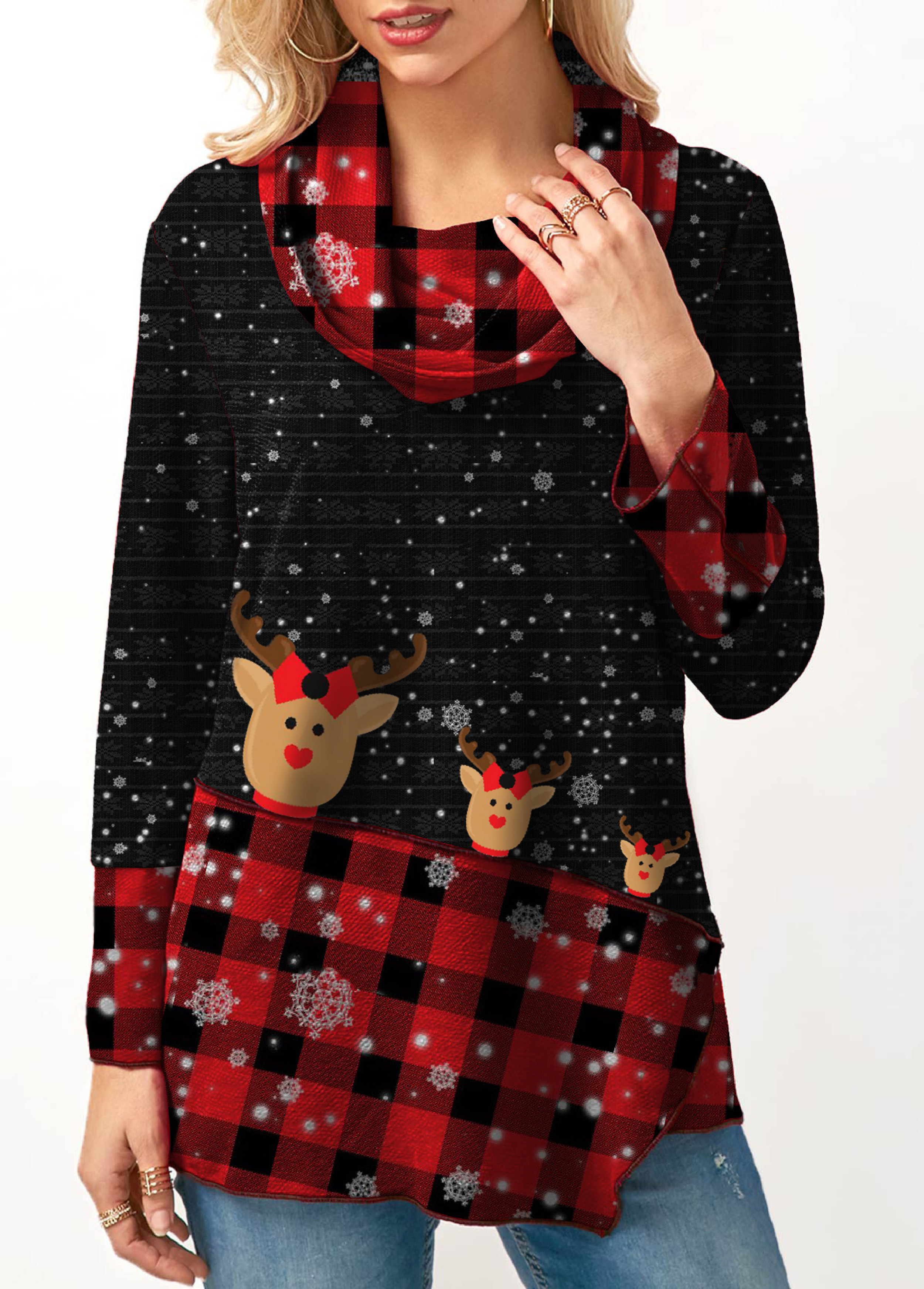 Cowl Neck Long Sleeve Plaid Print Christmas Sweatshirt