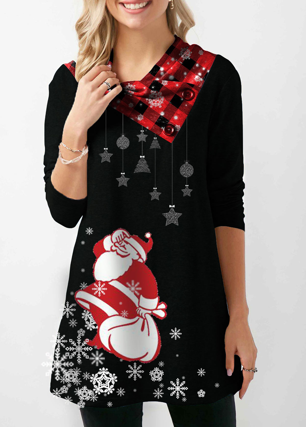 Button Embellished Santa Print Long Sleeve Christmas Sweatshirt