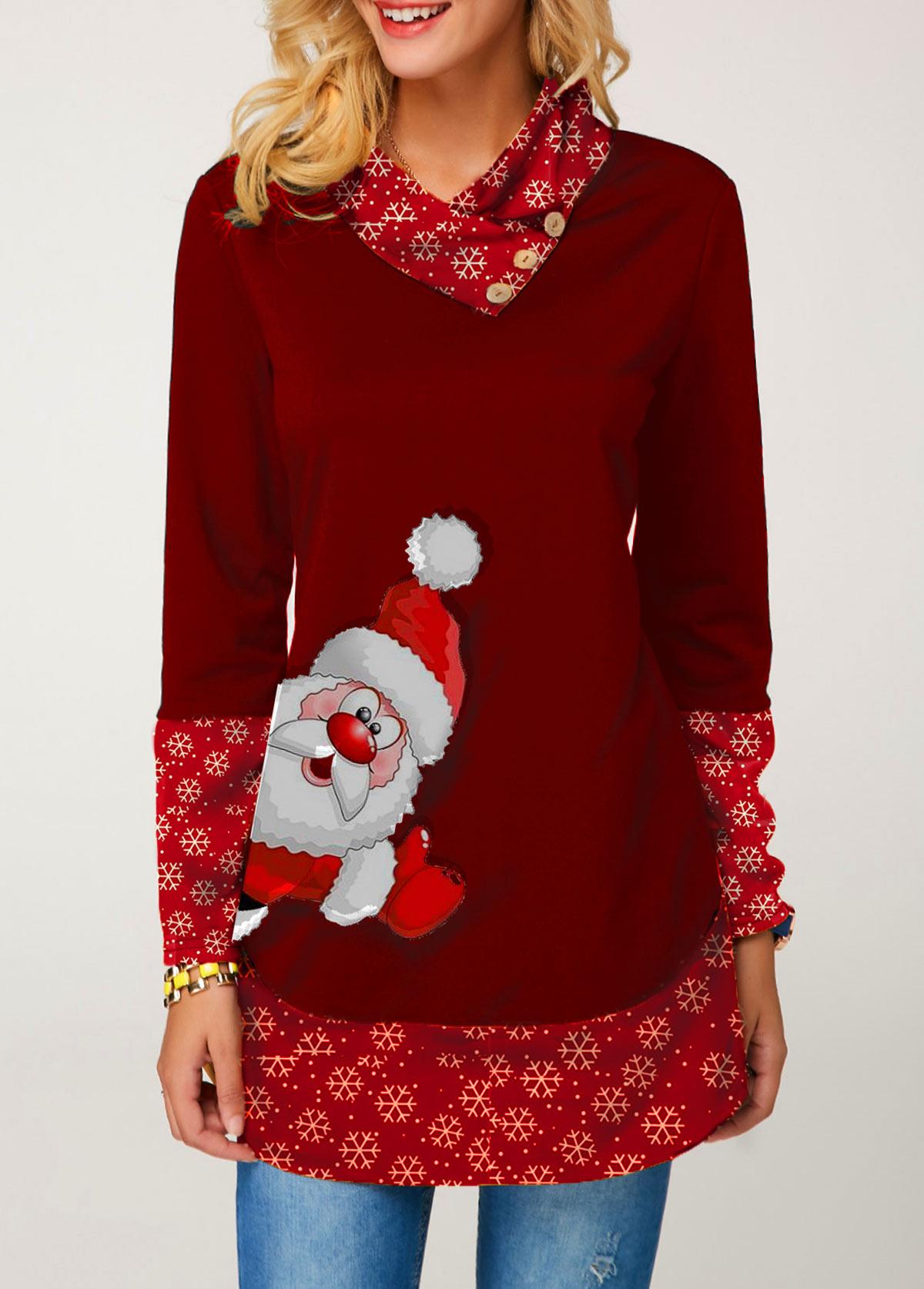 Button Embellished Long Sleeve Santa Print Christmas T Shirt