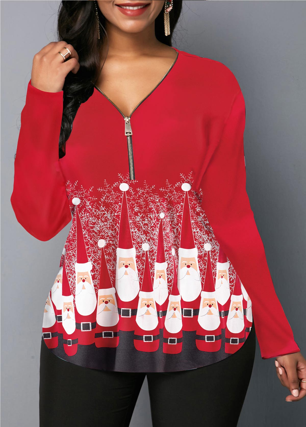 Red Zipper Front Santa Print Christmas Blouse
