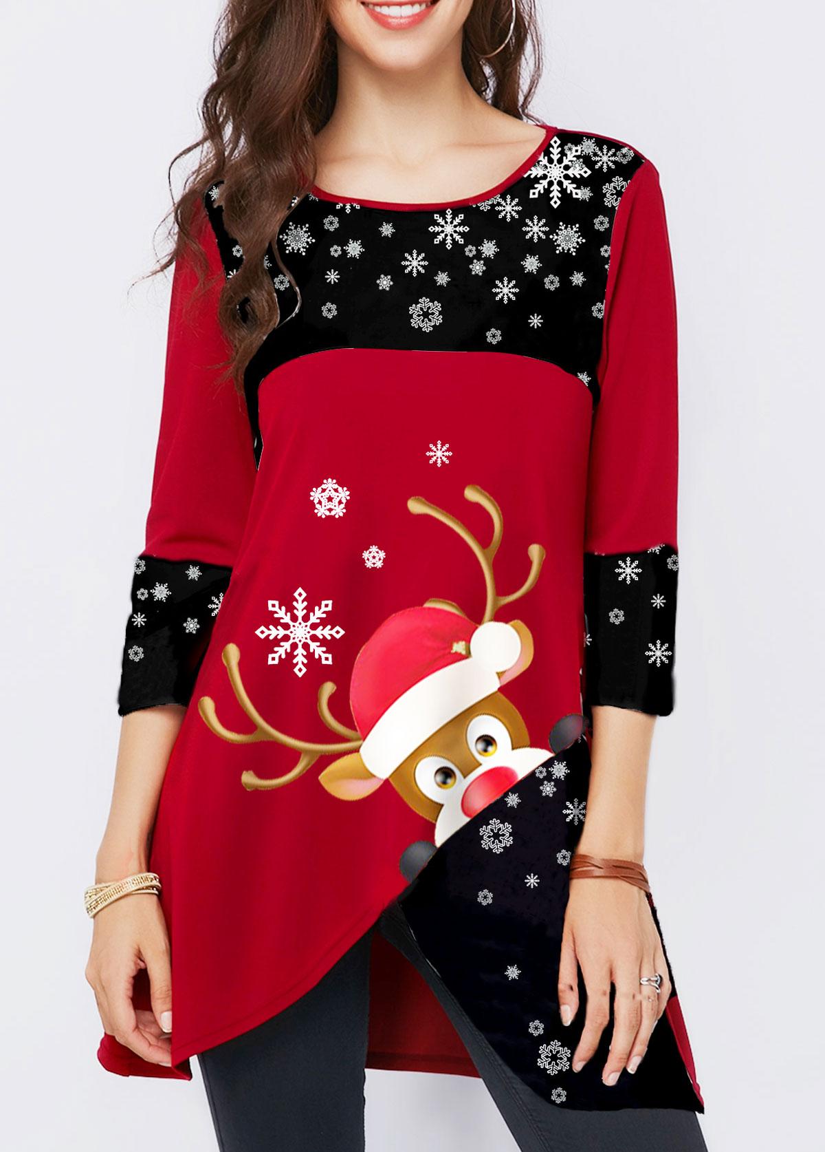 Elk Print Asymmetric Hem Wine Red Christmas T Shirt