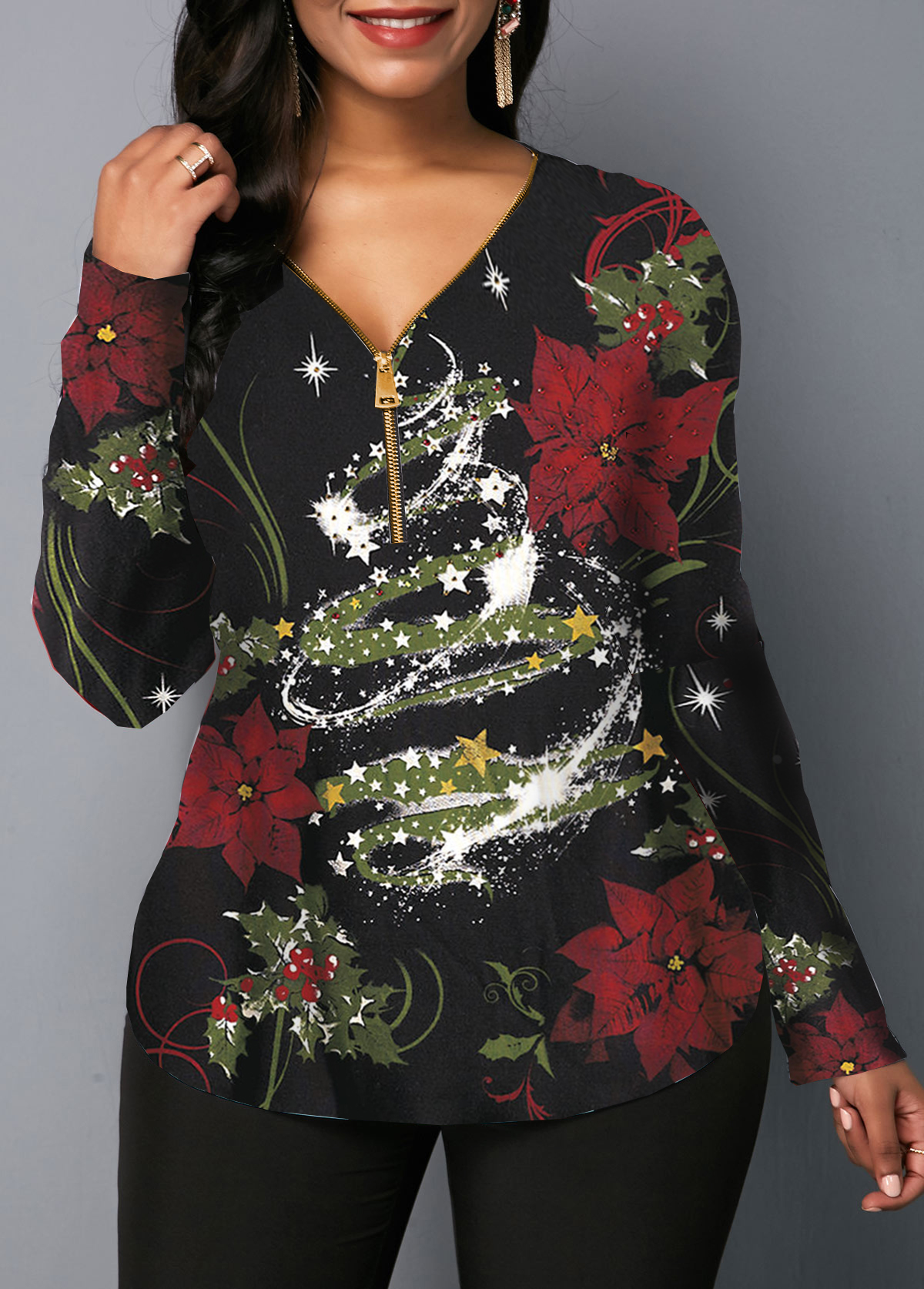 Zipper Front Long Sleeve Christmas Print Black Blouse