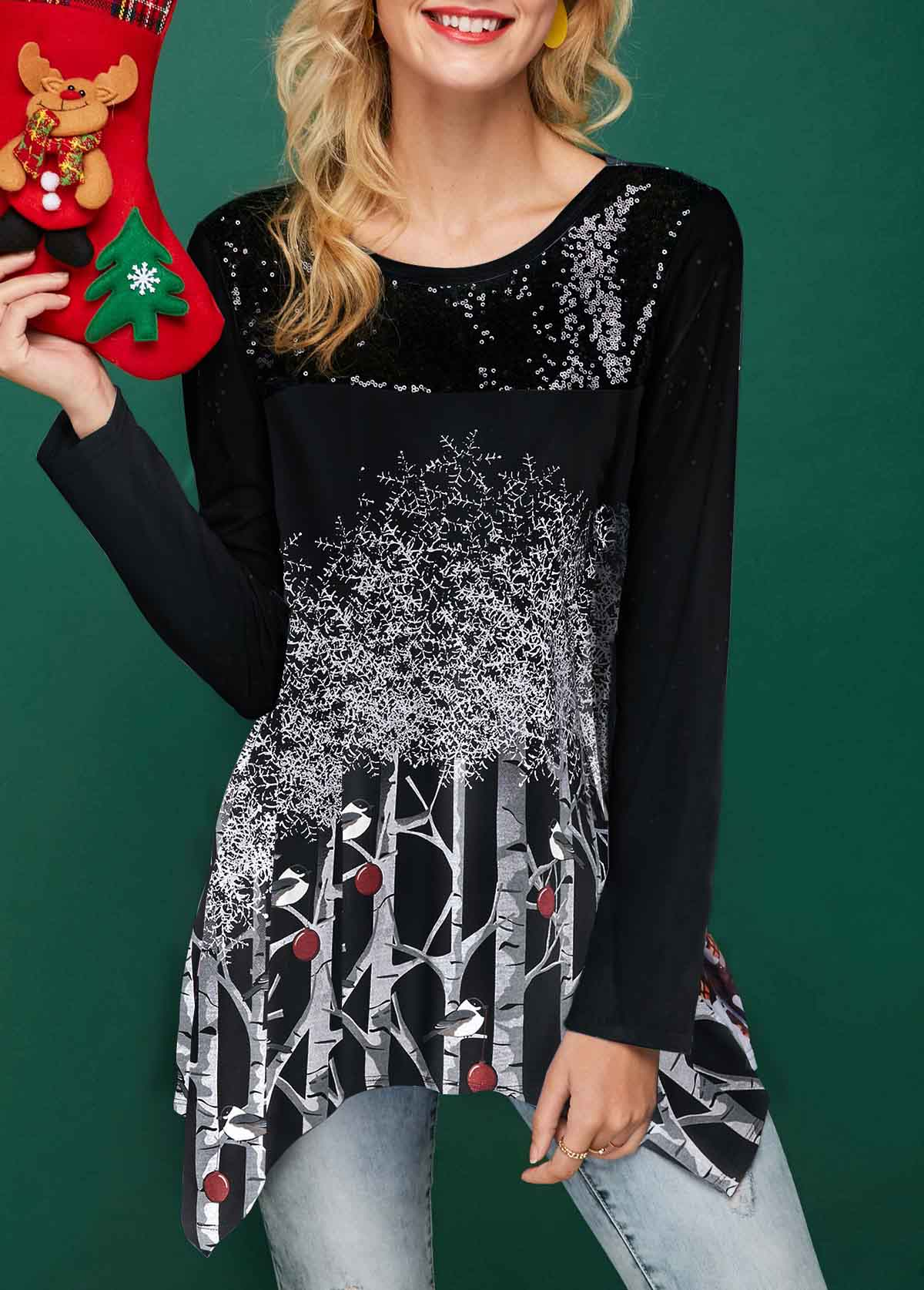 Tree Print Sequin Embellished Asymmetric Hem Christmas T Shirt