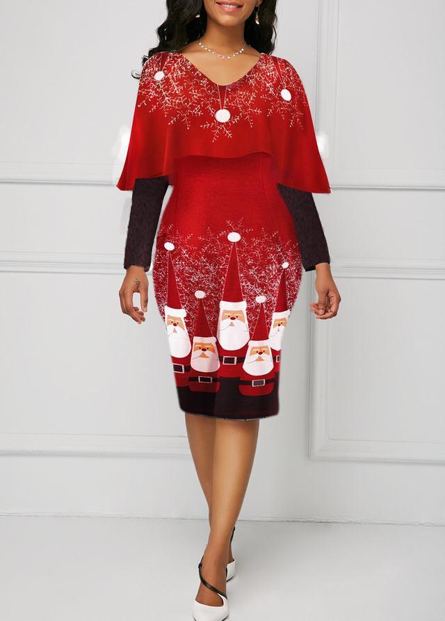 Overlay Embellished Santa Print Long Sleeve Christmas Dress
