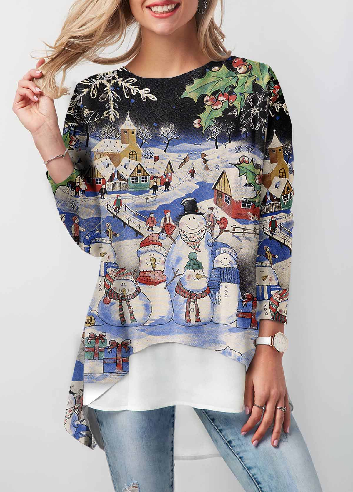 Christmas Print Long Sleeve Dip Hem T Shirt