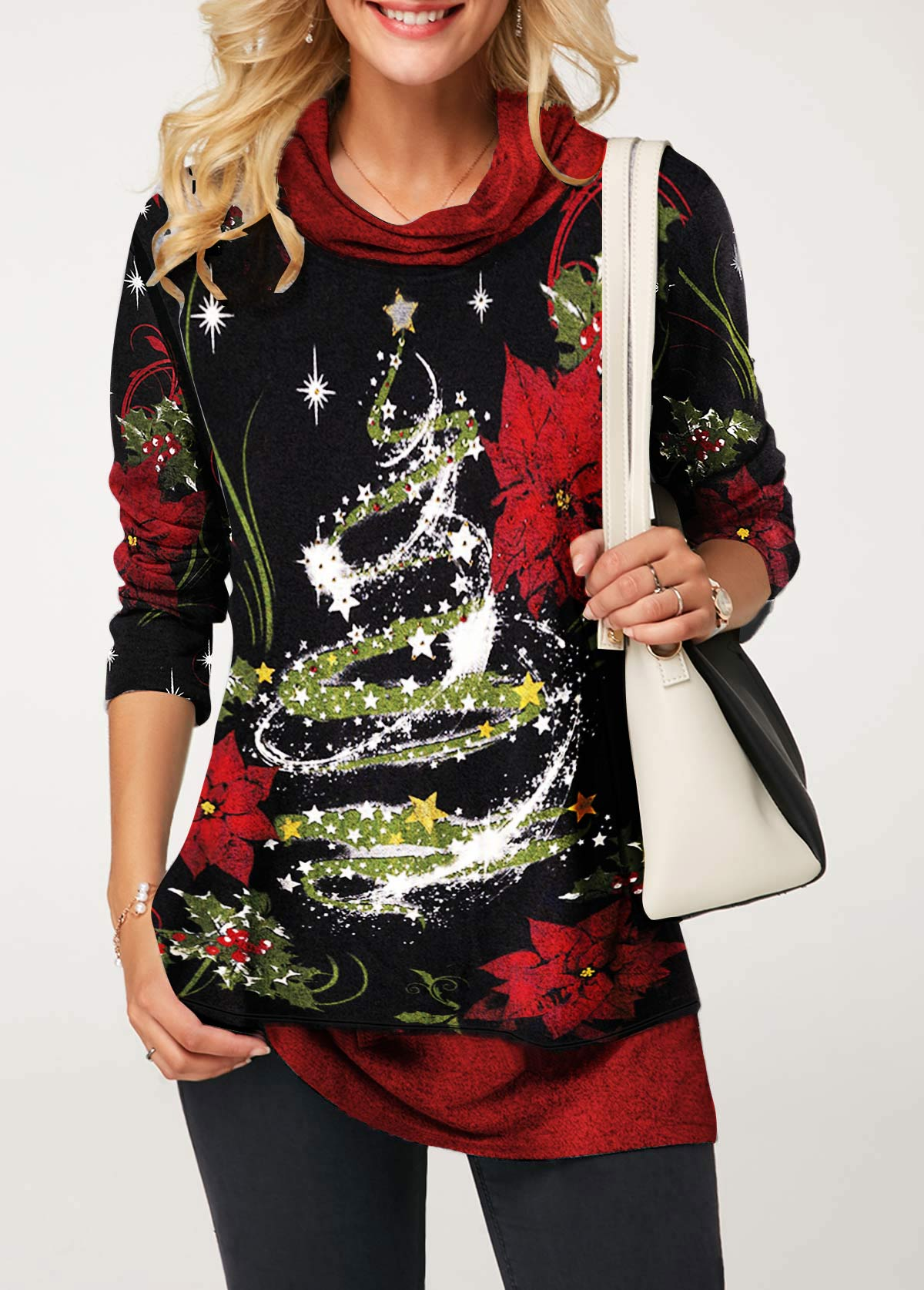 Long Sleeve Star Print Cowl Neck Christmas T Shirt
