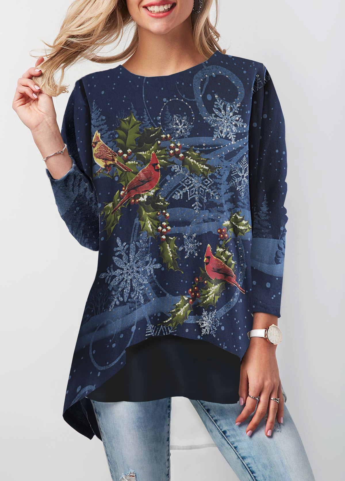 Button Back Christmas Printed Round Neck T Shirt