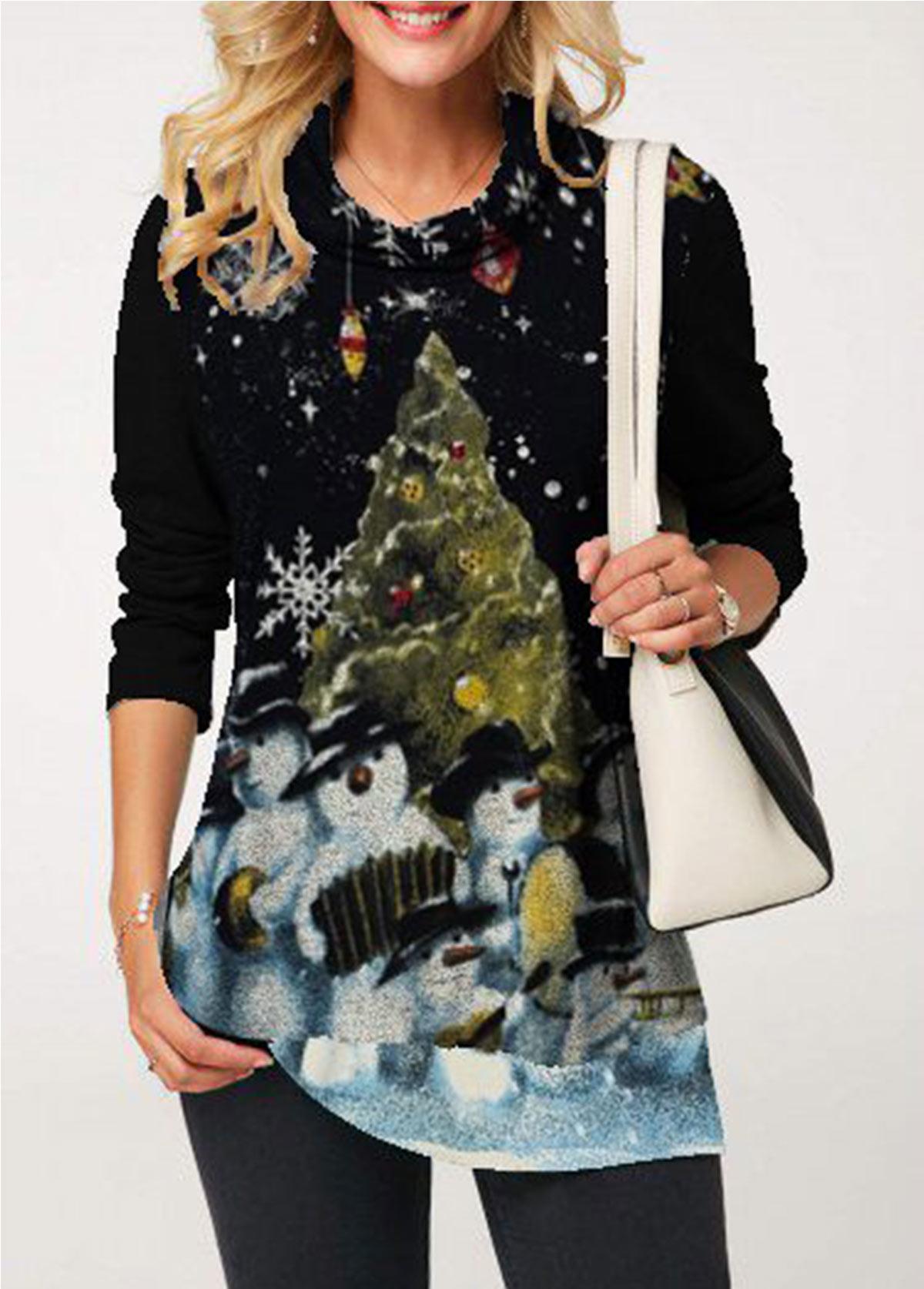 Cowl Neck Black Snowman Print T Shirt