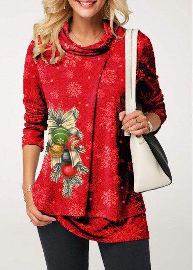 Cowl Neck Layered Christmas Print T Shirt