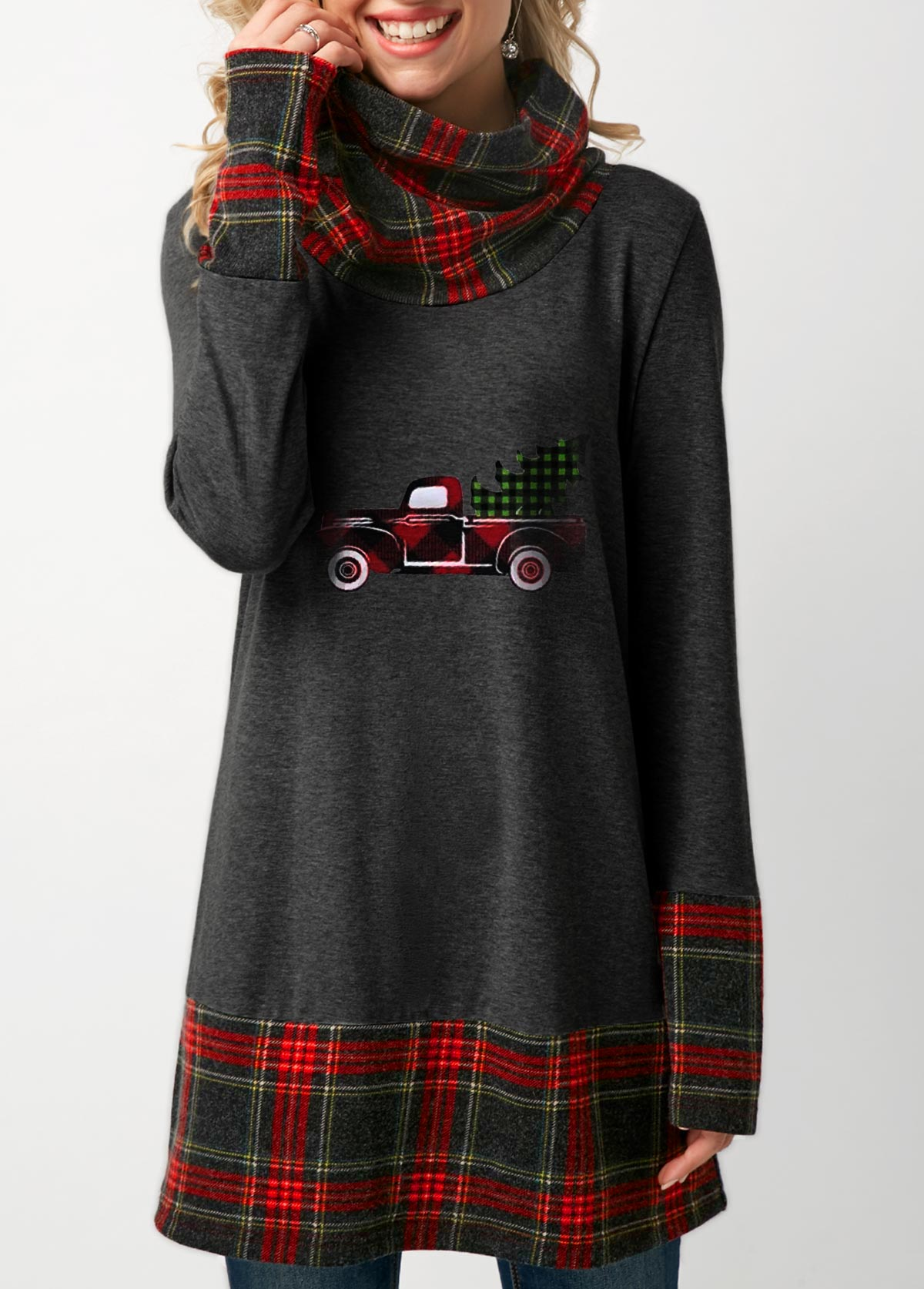 Plaid Print Long Sleeve Dark Grey Christmas T Shirt