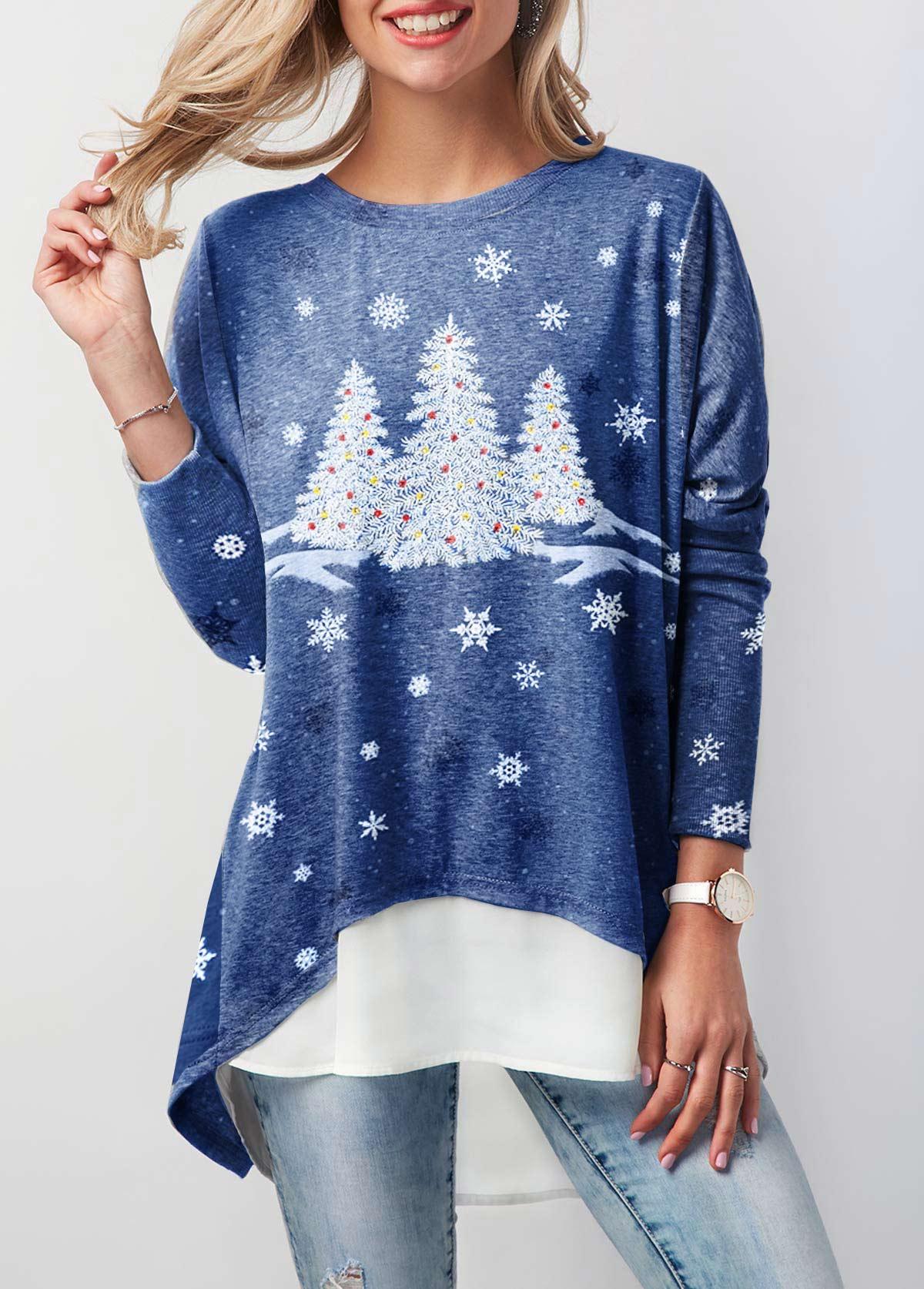 Long Sleeve Christmas Tree Print T Shirt