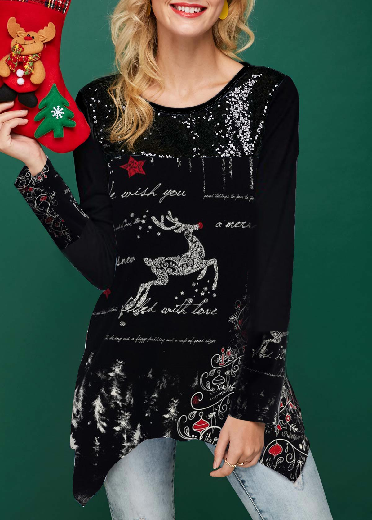 Sequin Embellished Long Sleeve Christmas T Shirt