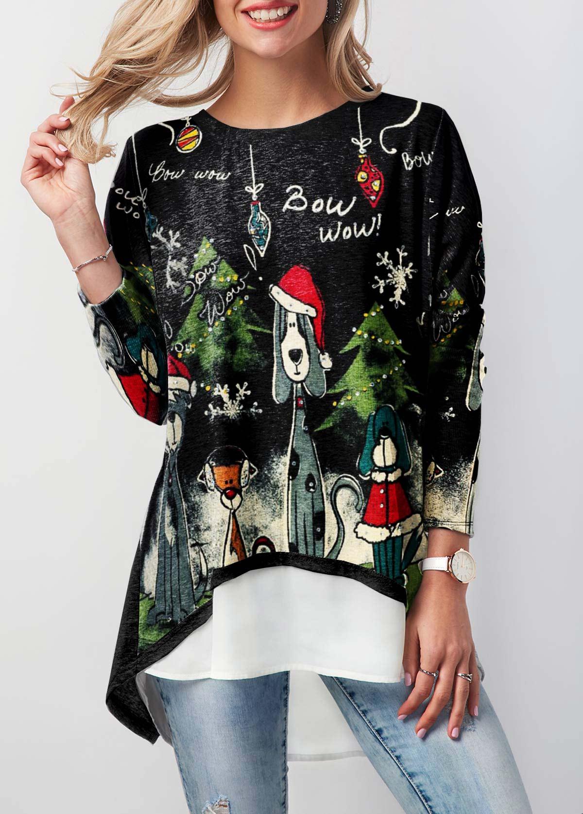 Asymmetric Hem Long Sleeve Christmas T Shirt