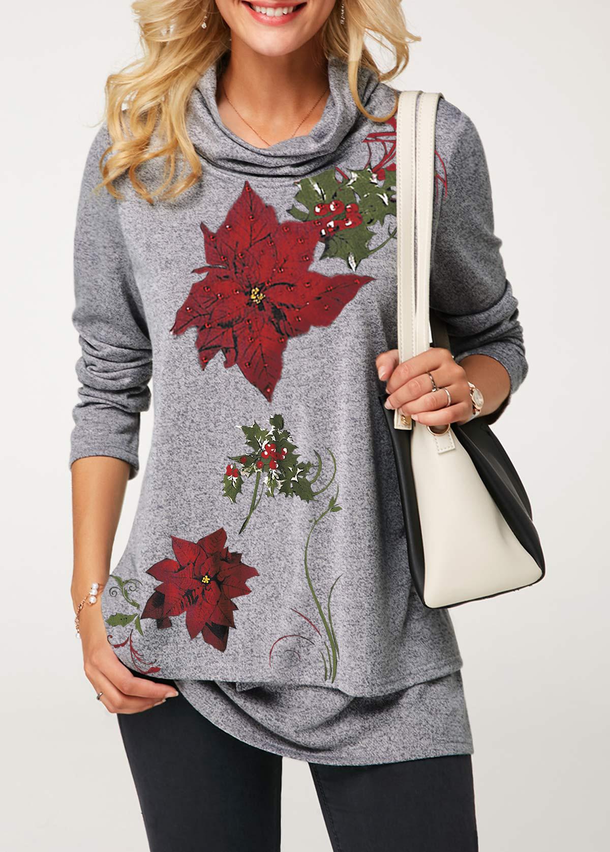 Cowl Neck Flower Print Layered Christmas T Shirt