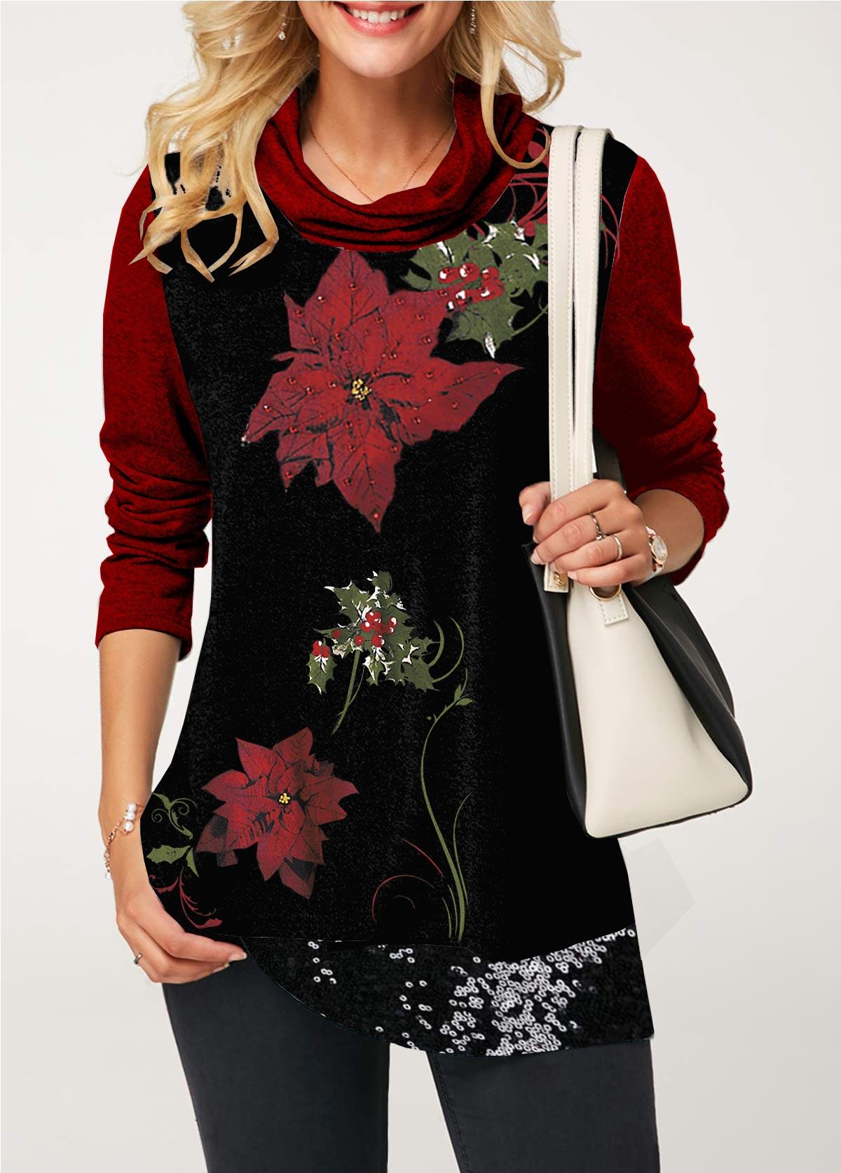 Sequin Embellished Cowl Neck Flower Print T Shirt