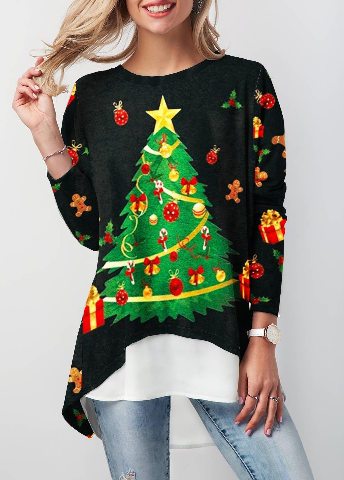 Christmas Tree Print Dip Hem Button Back T Shirt
