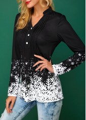 wholesale Snowflake Print Split Neck Black Christmas Blouse