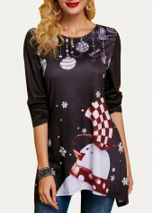wholesale Asymmetric Hem Long Sleeve Christmas T Shirt