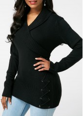 wholesale Lace Up Detail Long Sleeve Black Sweater