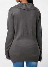 wholesale Dark Grey V Neck Lace Up Detail Sweater