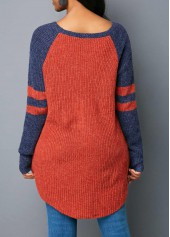 wholesale Long Sleeve Striped Scoop Neck Sweater