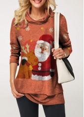 wholesale Long Sleeve Santa Claus Print Cowl Neck Blouse