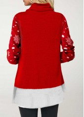 wholesale Cowl Neck Elk Print Christmas T Shirt