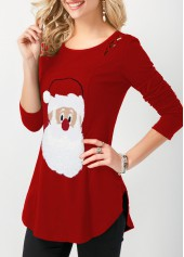 wholesale Christmas Curved Hem Long Sleeve T Shirt