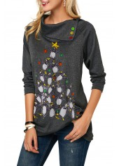 wholesale Penguin Print Long Sleeve Button Embellished Christmas T Shirt