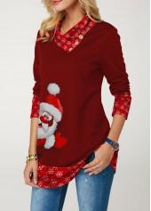 wholesale Button Embellished Long Sleeve Santa Print Christmas T Shirt