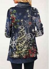 wholesale Cowl Neck Christmas Print T Shirt