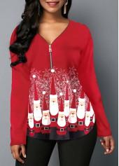 wholesale Red Zipper Front Santa Print Christmas Blouse