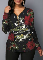 wholesale Zipper Front Long Sleeve Christmas Print Black Blouse