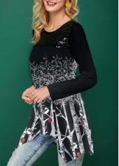 wholesale Tree Print Sequin Embellished Asymmetric Hem Christmas T Shirt