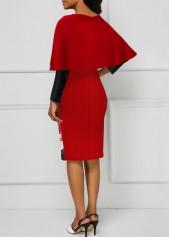 wholesale Overlay Embellished Santa Print Long Sleeve Christmas Dress