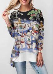 wholesale Christmas Print Long Sleeve Dip Hem T Shirt