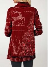 wholesale Christmas Elk Print Cowl Neck Wine Red T Shirt