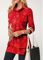 wholesale Cowl Neck Layered Christmas Print T Shirt
