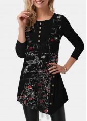 wholesale Asymmetric Hem Christmas Print Button Detail T Shirt