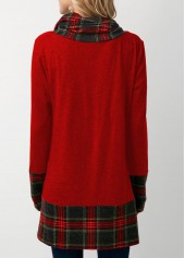 wholesale Plaid Print Cowl Neck Christmas T Shirt