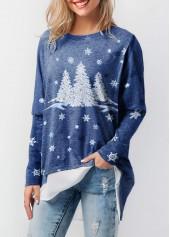 wholesale Long Sleeve Christmas Tree Print T Shirt