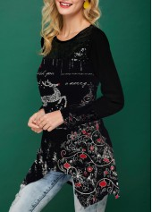 wholesale Sequin Embellished Long Sleeve Christmas T Shirt