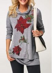 wholesale Cowl Neck Flower Print Layered Christmas T Shirt